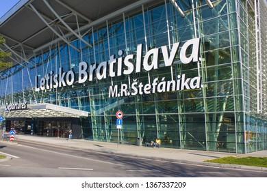BRATISLAVA, SLOVAKIA - April 1, 2019:  Airport «Bratislava» by name Stefanik in Bratislava