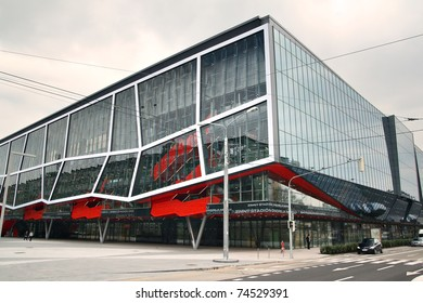 BRATISLAVA, SLOVAKIA - APRIL 2: Ondrej Nepela's Stadium facade on April 2, 2011 in Bratislava. The stadium (a.k.a. Orange Arena) is the place where IIHF Ice Hockey World Championship 2011 will be held
