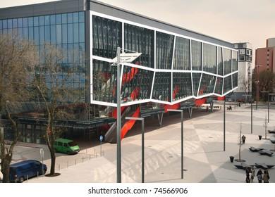 BRATISLAVA, SLOVAKIA - APRIL 2: Ondrej Nepela's Stadium facade on April 2, 2011 in Bratislava. The stadium (a.k.a. Orange Arena) is the place where IIHF Ice Hockey World Championship 2011 will be held