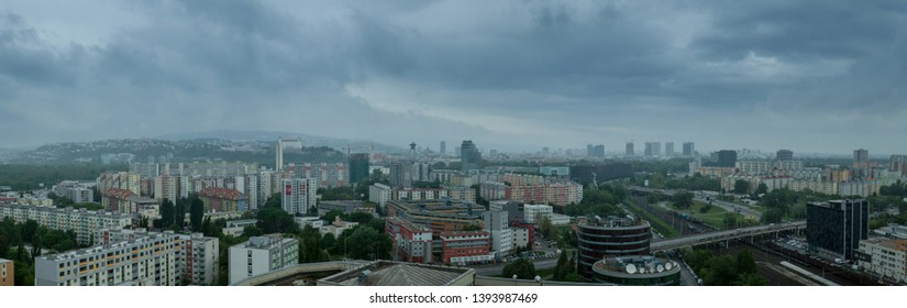 BRATISLAVA, SLOVAKIA - APRIL 29, 2019: View of Bratislava Panorama from Side of Petrzalka - the largest borough in Slovakia, during the Dark and Rainy Day