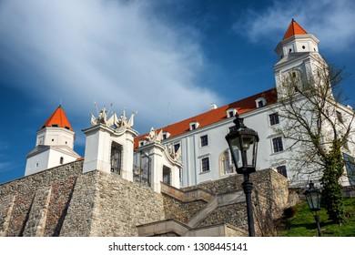 Bratislava/ Slovakia April 4, 2018: Bratislava Castle or Bratislavsky Hrad is the main castle of Bratislava, capital of Slovakia. Bratislava Castle is located on rocky hill above the Danube river.