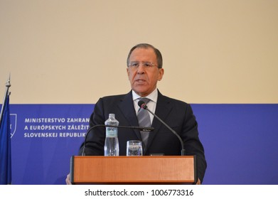 Bratislava, Slovakia. April 4th 2015: Press conference of Russian and Slovak Foreign Ministers, Miroslav Lajcak and Sergey Lavrov during the official visit of Minister Lavrov to Slovakia.