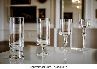 BRATISLAVA, SLOVAKIA - AUGUST 10, 2017: Exhibition of crystal glasses for cocktail in a hall of the Castle's gallery