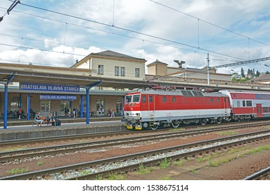 BRATISLAVA, SLOVAKIA - AUGUST 13, 2019 - A double-decker train, operated by Zeleznicna Spolocnost Slovensko (ZSSK) at Bratislava hlavna stanica (Bratislava main railway station)