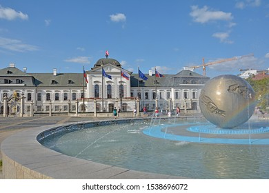BRATISLAVA, SLOVAKIA - AUGUST 13, 2019 - Planet of Peace Fountain on Hodzovo namestie, in front of the Grassalkovich Palace, the residence of the president of Slovakia