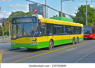 BRATISLAVA, SLOVAKIA - AUGUST 13, 2019 - Solaris CNG bus, operated by Dopravny podnik Bratislava, at Bratislava hlavna stanica terminus
