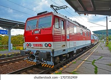 BRATISLAVA, SLOVAKIA - AUGUST 13, 2019 - A double-decker train, operated by Zeleznicna Spolocnost Slovensko (ZSSK) at Bratislava Vinohrady station