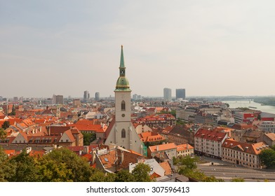 BRATISLAVA, SLOVAKIA - AUGUST 16, 2015: View of Cathedral of Saint Martin and Bratislava city center from Bratislava castle. Bratislava is a capital of Slovakia