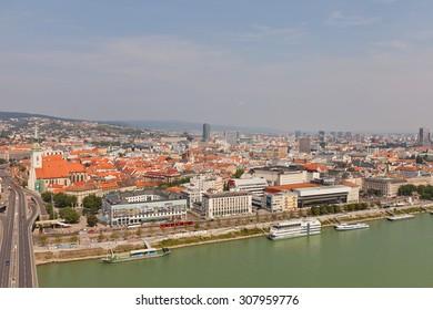 BRATISLAVA, SLOVAKIA - AUGUST 16, 2015: View of Danube River and Bratislava old city center from UFO observation desk (SNP Bridge). Bratislava is the capital of Slovakia