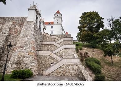 Bratislava, Slovakia - August 22, 2019. The castle of Bratislava.