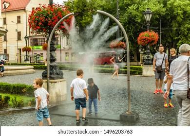 BRATISLAVA, SLOVAKIA - AUGUST 26, 2019:  tourists visiting Hviezdoslavovo namestie in  Bratislava, capital of Slovakia