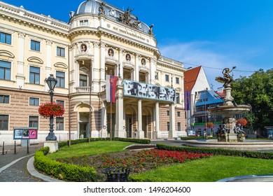 BRATISLAVA, SLOVAKIA - AUGUST 27, 2019: sunlight is enlightening Slovak National Theatre and other ancient buildings in Bratislava, capital of Slovakia