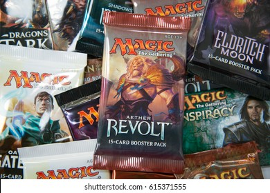 Bratislava, Slovakia, circa april 2017: Magic the Gathering Booster packs with Aether Revolt in the front