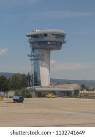 BRATISLAVA, SLOVAKIA - CIRCA JULY 2018: air traffic control tower at the airport