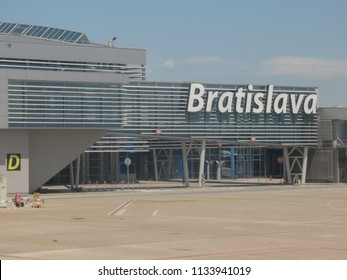 BRATISLAVA, SLOVAKIA - CIRCA JULY 2018: airport main buiding seen from the taxi way