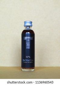 BRATISLAVA, SLOVAKIA - CIRCA JULY 2018: Tatratea (aka Tatra caj) typical Slovak liquor produces in the high Tatra Mountains by Karloff distillery