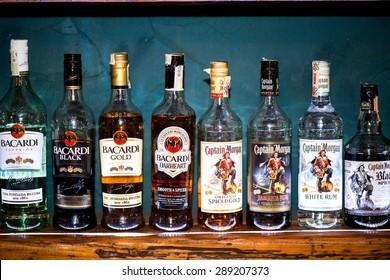 BRATISLAVA, SLOVAKIA - CIRCA JUNE 2015: Bottles of Bacardi, Havana and Captain Morgan Rum