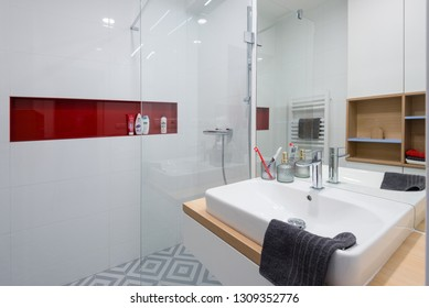 BRATISLAVA, SLOVAKIA - DEC 17, 2018: Bathroom of small apartment designed by young interior designers from Kivvi architects based in Bratislava, Slovakia