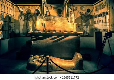 BRATISLAVA, SLOVAKIA - DECEMBER 14: King Tut tomb and sarcophagus at the Tutankhamun exhibition on December 14, 2014 in Bratislava