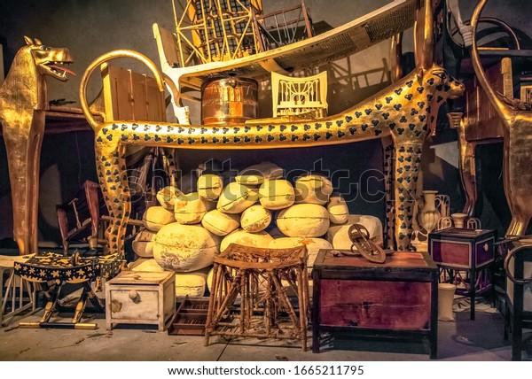 BRATISLAVA, SLOVAKIA - DECEMBER 14: King Tut tomb and treasures at the Tutankhamun exhibition on December 14, 2014 in Bratislava