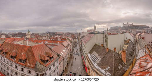 BRATISLAVA, SLOVAKIA - DECEMBER 23, 2018: Cityscape and skyline of Bratislava, capital city of Slovakia. Popular landmark, famous travel destination