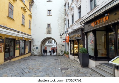 BRATISLAVA, SLOVAKIA - DECEMBER 27: Michael's Gate on December 27, 2013 in Bratislava. Built about the year 1300 it's the only city gate that has been preserved of the medieval fortifications.