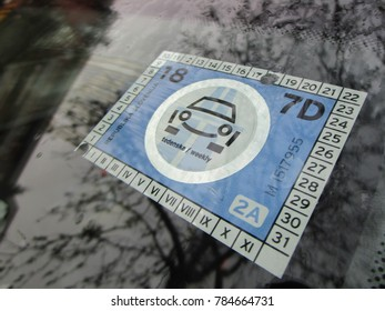 Bratislava, Slovakia- DECEMBER 30, 2017 - Slovakian Vignette (Highway Toll Sign) on The Windscreen of The Car