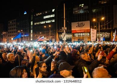 BRATISLAVA, SLOVAKIA - FEB 21, 2019: One year after the murder of journalist Jan Kuciak and his fiance Martina Kusnirova massive protests took place around Slovakia.