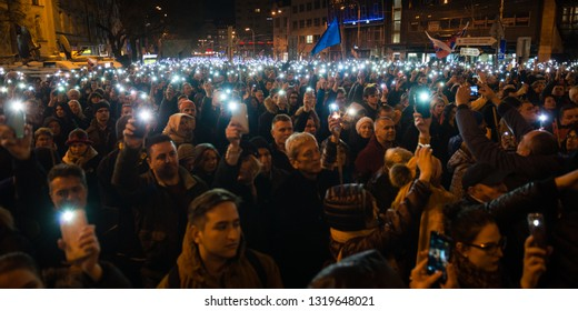 BRATISLAVA, SLOVAKIA - FEB 21, 2019: One year after the murder of journalist Jan Kuciak and his fiance Martina Kusnirova massive protests took place around Slovakia.