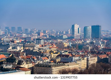 BRATISLAVA, SLOVAKIA - FEBRUARY 16, 2019: New part  of Bratislava, Slovakia. Bratislava is the Capital of Slovakia and most visited city in Slovakia.