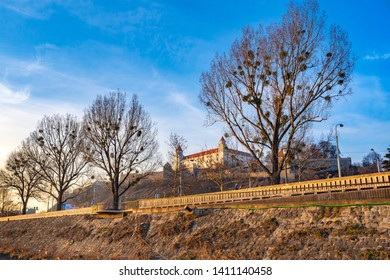BRATISLAVA, SLOVAKIA - February 16, 2019: Bratislava Castle or Bratislavsky Hrad is the main castle of Bratislava, capital of Slovakia. Bratislava Castle is located on rocky hill above the Danube rive
