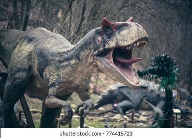 Bratislava / Slovakia - February 28, 2016: Dinopark in Bratislava Zoo; allosaurus close-up