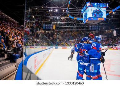 BRATISLAVA, SLOVAKIA, FEBRUARY. 9. 2019: Hockey players celebrate goal