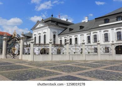 Bratislava, Slovakia. Grassalkovich Palace - seat of the President of Slovakia. Governmental building.