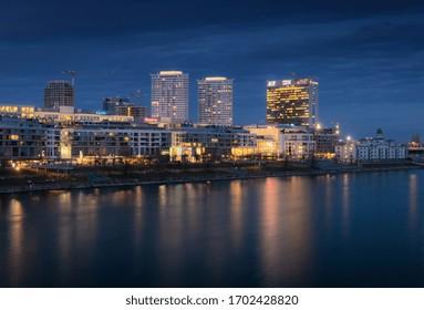 BRATISLAVA, SLOVAKIA - JANUARY 2019, Panorama of modern buildings and shopping center in Bratislava, Slovakia
