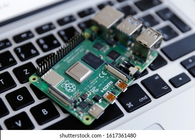 Bratislava, Slovakia - January 2020: a Raspberry Pi 4 board, isolated on computer keyboard. The Raspberry Pi is a series of single-board computers developed by the Raspberry Pi Foundation.