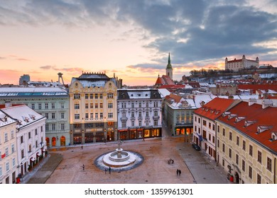 Bratislava, Slovakia – January 21, 2016: View of the main square and the old town from the tower of the city hall, Bratislava, Slovakia.