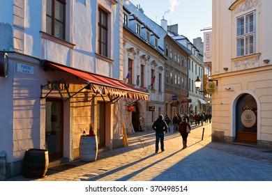 Bratislava, Slovakia - January 22, 2016: In the streets of the old town in Bratislava, Slovakia.