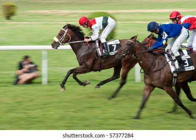 BRATISLAVA, SLOVAKIA - JULY 18: jockey Gary Hind on horse Overdose (GB) won Mysa Trophy race - part of 18th Slovak Derby on  July 18, 2010 in Slovakia
