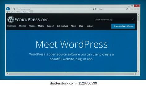 Bratislava, Slovakia, July 6, 2018: Wordpress web page on laptop screen
