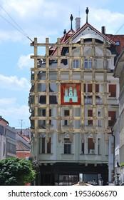 Bratislava, Slovakia - June 13 2014: The hanging portcullis gate of Bratislava