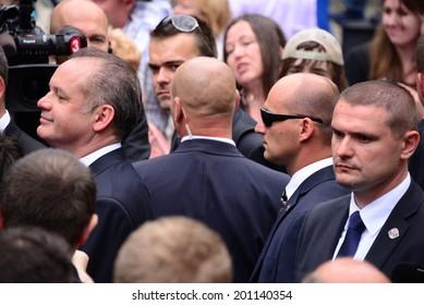 BRATISLAVA, SLOVAKIA - JUNE 15, 2014 President Andrej Kiska surrounded by bodyguards during the inauguration of Andrej Kiska on June 15, 2014 in Bratislava, Slovakia.