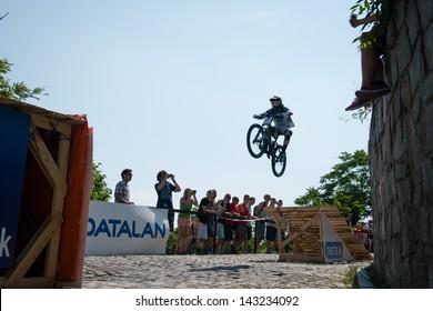 BRATISLAVA, SLOVAKIA - JUNE 22: Bernard Kerr (GBR) in action during Bratislava City Downhill on June 22 2013 in Bratislava, Slovakia