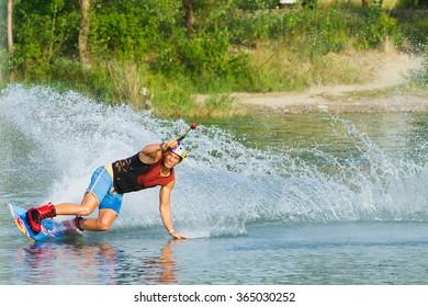 BRATISLAVA, SLOVAKIA - JUNE 26, 2015: WakeLake Golden Trophy, Contest of Wake-boarding and Wake-skating
