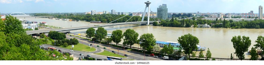 BRATISLAVA, SLOVAKIA - JUNE 7: view of the flooded Danube river on June 7, 2013 in Bratislava, Slovakia. A 3rd degree flood warning was issued in Bratislava in early June with the river exceeding 9m.