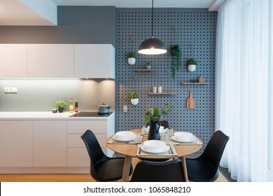 BRATISLAVA, SLOVAKIA - MAR 15, 2018:  Contemporary kitchen interior designed by young interior designers - Kivvi architects based in Bratislava, Slovakia