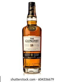 BRATISLAVA, SLOVAKIA - MARCH 19, 2017, bottle of GLENLIVET single malt scotch whisky