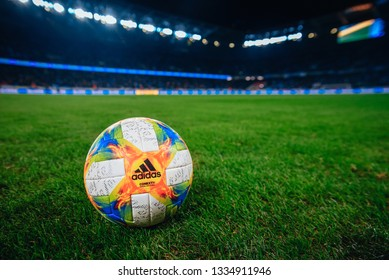 BRATISLAVA, SLOVAKIA, – MARCH 3, 2019: Adidas Football, soccer Ball – CONEXT 19 EUROPEAN QUALIFIERS OFFICIAL GAME BALL at the Stadium