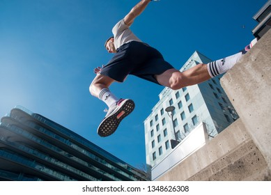 BRATISLAVA, SLOVAKIA, – MARCH 3, 2019: Man Running in the city in sunny day,