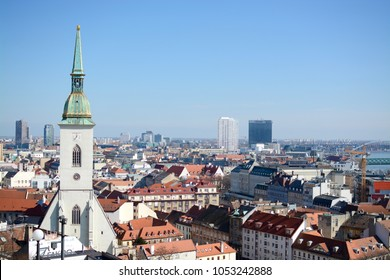 BRATISLAVA, SLOVAKIA - MARCH 8, 2017: View of Bratislava and the Cathedral of St. Martin from Bratislava Castle, Bratislava, Slovakia
